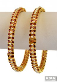 Pearl and Ruby Stones Bangles (22K)