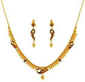22K Gold Peacock Necklace Set ( 22K Light Necklace Sets )