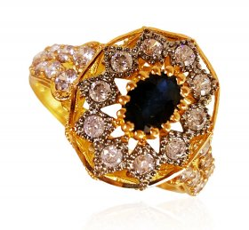 22KT Gold Blue Sapphire Ring ( Gemstone Rings )