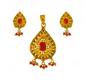 22Kt Gold Meenakari Pendant Set ( Gold Fancy Pendant Sets )