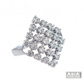 Diamond Shaped Signity Ring 18K ( White Gold Rings )