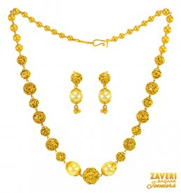 22KT Gold Antique Mala Necklace Set