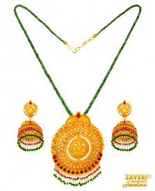 Gold Temple Jewelry Necklace Set ( 22K Antique Necklace Sets )
