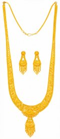22 Kt Filigree Necklace Set Long  ( 22K Necklace Sets (Long) )
