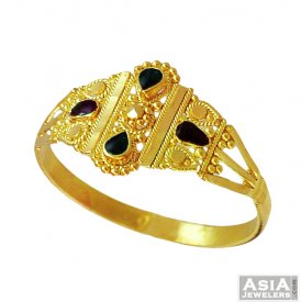22K Elegant Gold Meenakari Ring ( 22K Gold Rings )