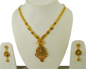 Gold Antique Necklace Set  ( 22K Antique Necklace Sets )
