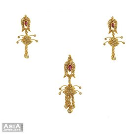 Uncut Diamond Pendant Set (22k)